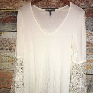 White House Black Market Lace Bell Sleeve Sweater